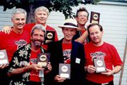 The Morticians with their hall of fame plaques